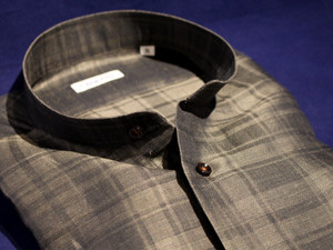 CADETTO ORIGINALS SHIRTS LEGGIUNO Stand-Collar Black Watch Cotton Linen Olive