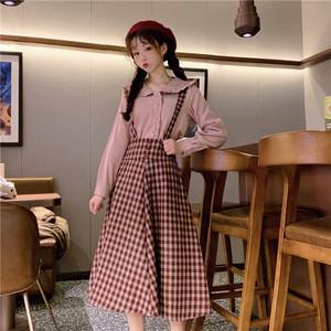 【セットアップ】スウィートシャツ+チェック柄ジャンパースカート