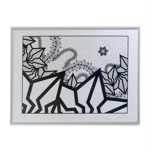 "BAKIBAKI screen print ""Silver River"" (with Frame)"