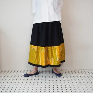 HAREGI SKIRT -ヴィンテージの銘仙の着物地を使ったフレアスカート [ロング/イエロー]