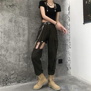 【ボトムス】 ポケット付きシンプルファッション透かし彫りストリートパンツ41529160