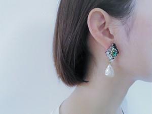 パールビジューピアス ミリアムハスケル vintage earrings Miriam Haskell <PE-mhpl>