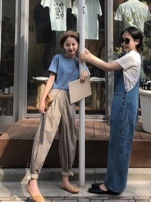 チェック柄 大人ファッション ラフスタイル  ロング パンツ