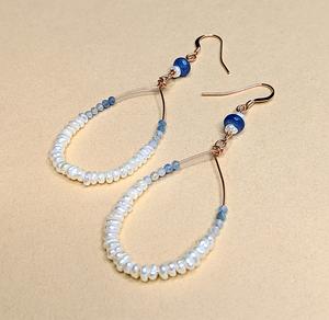Pearl, Kyanite & Aquamarine earrings | MIHO meets RUKUS