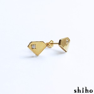 宝石のシルエットをかたどったピアス【silhouette pierce(gd)<石あり>】