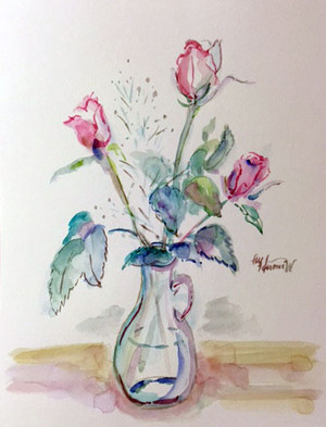 薔薇の水彩画*F6号水彩画*原画