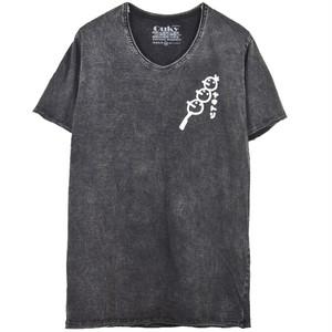 石垣もずく × OUKY コラボ Tシャツ ブラック×ホワイト B
