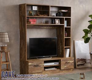 【送料無料】Cave 寄木柄壁面収納付きテレビボード