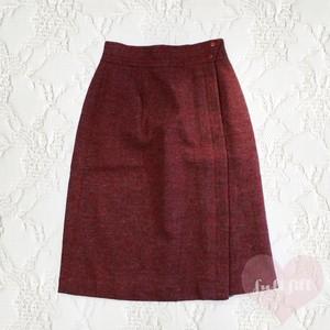 斜めストライプ ウールスカート