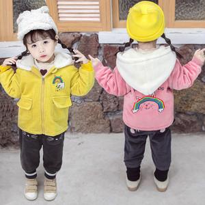 【トップス】可愛いカジュアル厚手長袖暖かい無地子供服コートアウター24835104