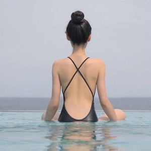 【送料無料】 クロスデザインビキニ ワンピース水着 バックシャン 細めストラップ 無地 シンプル 体型カバー 夏 海 プール 海水浴 リゾート 旅行