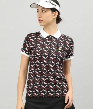 【UV】ピクセルフラミンゴプリント半袖ポロシャツ