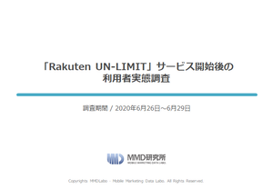 「Rakuten UN-LIMIT」サービス開始後の利用者実態調査