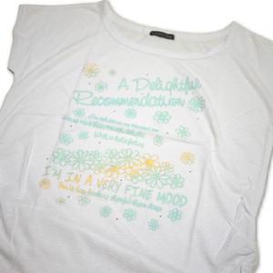 Tシャツ レディース 半袖  白地に花とロゴ Mサイズ ショート丈 【ゆうパケットOK】3枚まで可 [170010]