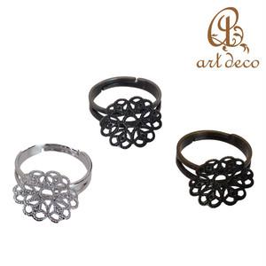 リング 指輪 花型 10個 フリー 直径15.5mm [ri-3042] パーツ アクセサリー オリジナル ハンドメイド 材料 卸 装飾 スカシパーツ 空枠 問屋 卸売り