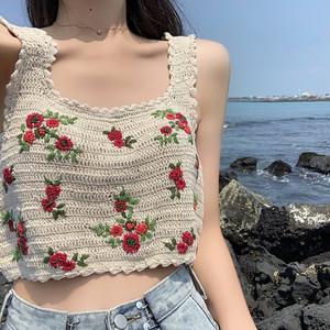 【トップス】人気ファッション韓国系ショート丈カットソー刺繍ベスト22315700