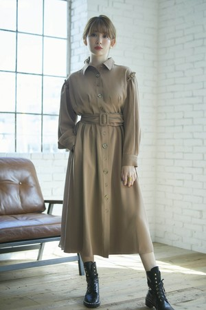Two-Tone Belted Shirt Dress