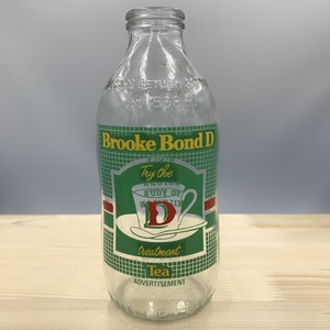 イギリス ユニゲート社 広告入り(Brooke Bond) コーンフレーク ミルクボトル 瓶 ヴィンテージ