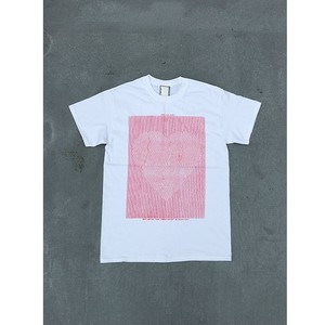 """love communication"" T-shirt / white × red"
