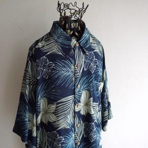 1990's [puritan] ボタニカルパターン S/S レーヨンシャツ ネイビー 表記(L)