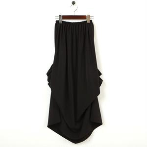 ギャザードレープ スカート/ロング 黒