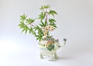 グリーンPINKのゾウ花器
