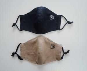 男性用 刺繍マスク 麻素材