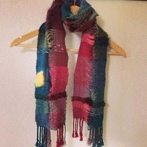 手織りマフラー lemon & flamingo 0017 handweaving scarf