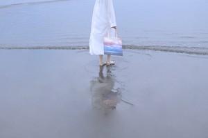 【送料無料】空と海を描いた、メッシュ素材のトートバック