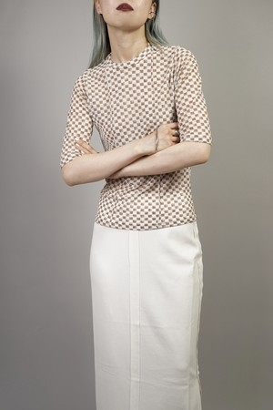 CHECKERED TOPS  (BROWN) 2105-01-84