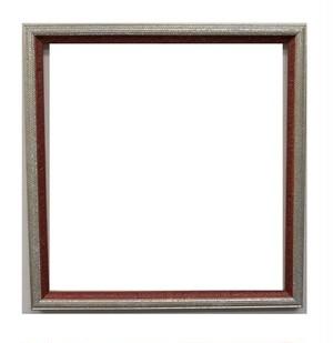 額縁アンティークおしゃれフレーム 32-6120(銀/赤)額縁寸法330mm×320mm 窓枠寸法320mm×310mm 2mmアクリル裏板付 壁掛け用/箱付き、完品