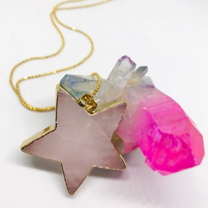 <Rose quartz> big-star shape necklace