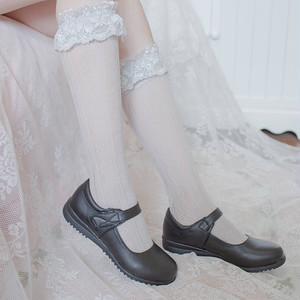 【即納】ハート フリル レース靴下 2色