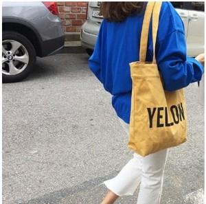 カラー ロゴ キャンバス カジュアル トート バッグ かわいい 帆布 A4サイズ iPadが入る イエロー gdab246