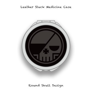 Leather Stuck Medicine Case ( Large Round Shape ) / Round Skull Design 001