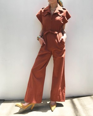 70s brown jumpsuits ( ヴィンテージ  ブラウン オールインワン )