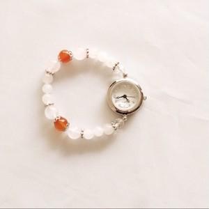 〈ローズクォーツ×カーネリアン×ホワイトジェイド〉腕時計