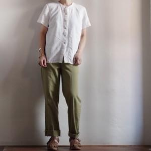 Cotton Shirt / コットン シャツ / ノーカラー ブラウス