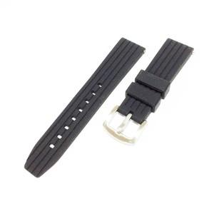 ストレートグルーブシリコンラバーバンド(ブラック)22mm  for SKX007 SKX009  B-SISGB