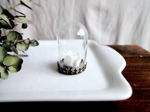小さなインテリア■ガラスドーム■ガラス製薔薇 ホワイト