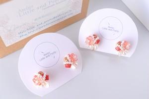 「桜色のブーケ」*淡水パールと桜色のお花チェコビーズのピアス