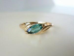ブルーグリーントルマリンとK10の指輪