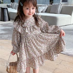 子供ドレス キッズ ベビー ジュニア 女の子ドレス ガールズ 長袖ワンピース 小花柄 プリンセス 参考身長100-130cm 8339