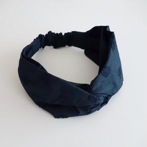 アナベル刺繍のヘアバンド ネイビー