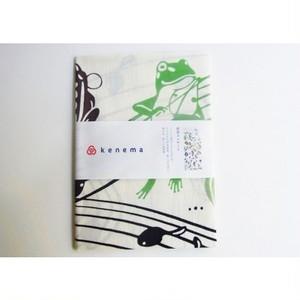 手拭い蛙「雨音コンサート」kenema amaoto164