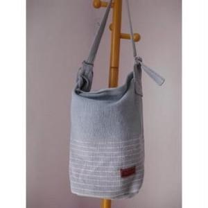 <フェアトレード>バケツ型 ショルダーバッグ  グレー マザーズバッグ ママバッグ 手織り