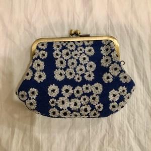 cloth to flower お花がま口 2重口 ブルーに白花