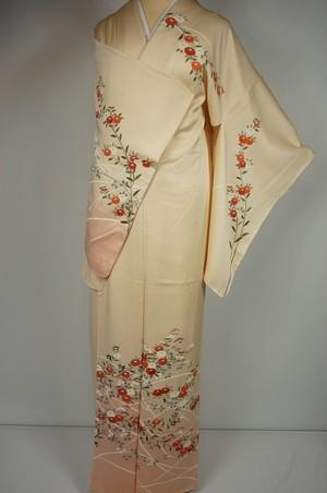 未使用 手描き友禅 訪問着 菊 花柄 刺繍 正絹 黄色 ピンク 257