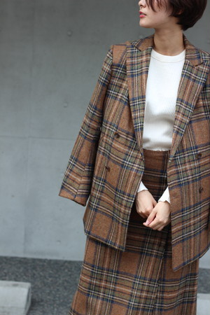 SALE対象商品【Needles】d.b. jacket-wool plaid tweed-brown