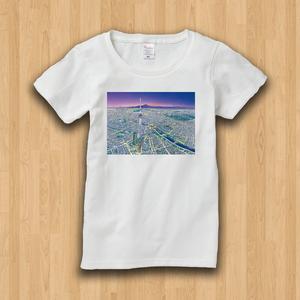 【受注生産】パノラマ「浅草・夜景」  レディースTシャツ